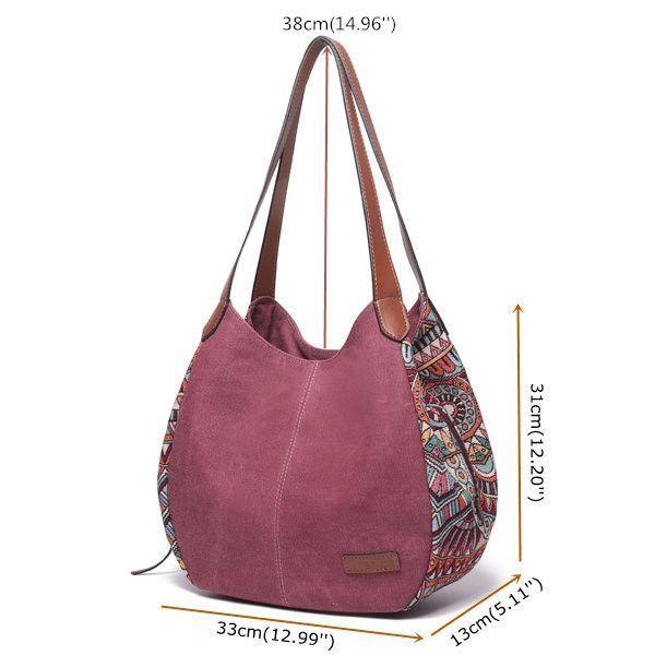 Heißer verkauf designer brenice böhmen große kapazität leinwand floral handtasche – Frauenmode