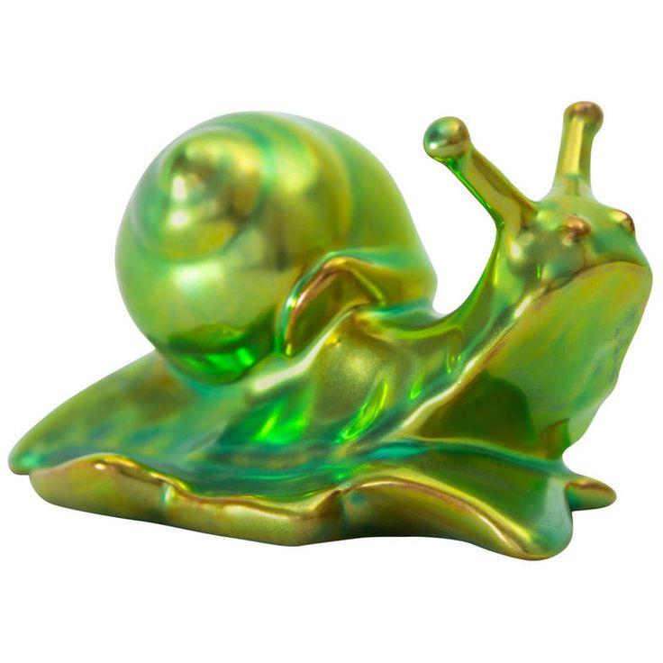 Zsolnay Hungarian Handicrafts Snail Green Decor
