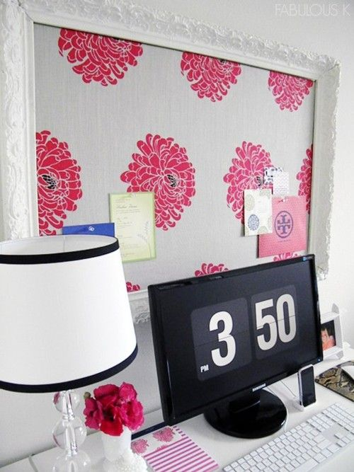 Cute desk idea. Frame a fabric covered cork board for memos and