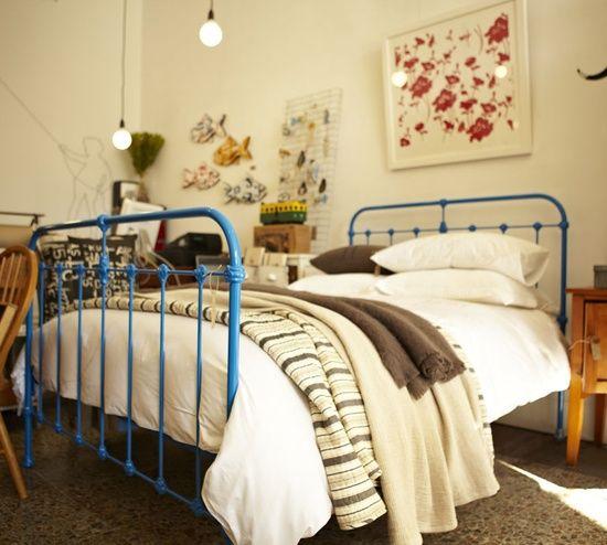 blue vintage iron bed
