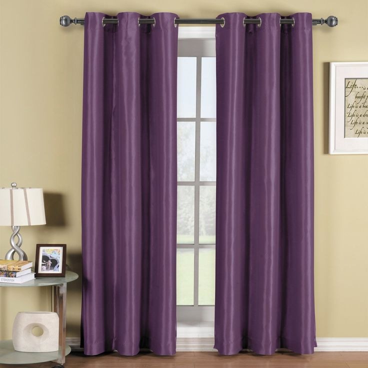 Pair of Two Purple Top Grommet Blackout Curtain Panels, Triple-Pass Foam Back Layer, Elegant and Contemporary Soho 96 Inches Blackout Panels -- Trust me, this is great! Click the image. (This is an amazon affiliate link. I may earn commission from it)