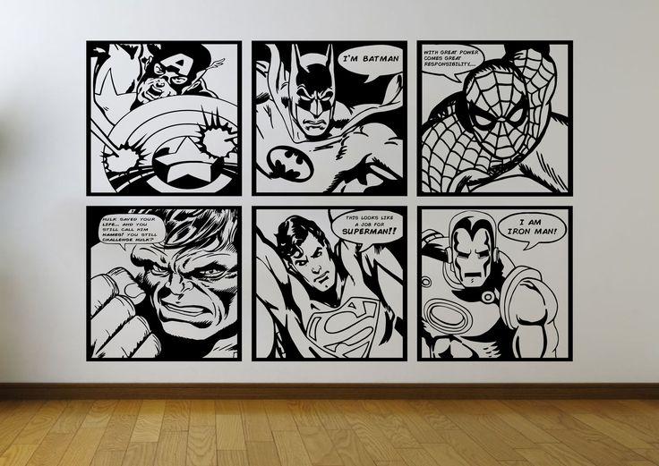Comic Book Wall Murals 187 best comic book superhero home decor vinyl wall stickers