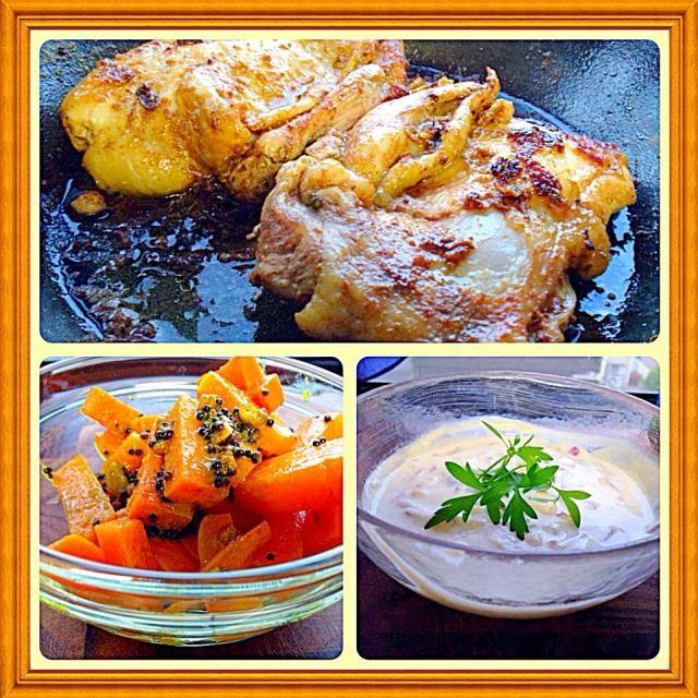 今日はインド料理。タンドリーチキンはチリを控えめにすると子供達も食べれます。  アチャールは、ピクルス。ライタは、ヨーグルトと野菜をあえて、塩、クミン、コリアンダーで味付け。  今日は暑かった。 こんな日はエスニックが食べたくなります。 - 81件のもぐもぐ - Tandoori. Chicken with Achar & Raita タンドリーチキン、ピクルスとヨーグルトサラダ by yurikos16