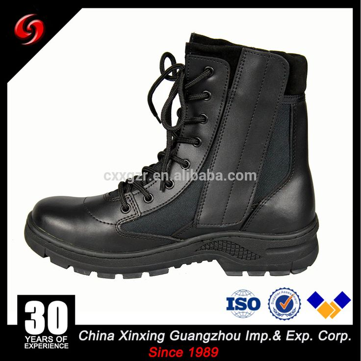 Custom made high ankle black pilot military boots with zipper
