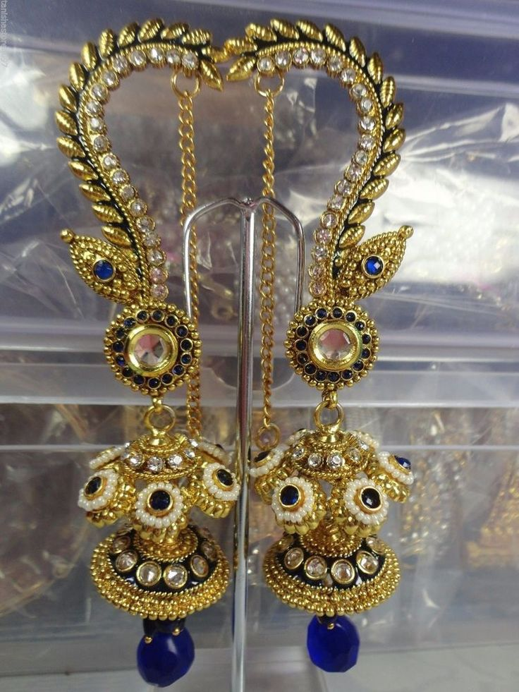 NEW INDIAN BOLLYWOOD STYLE DESIGNER GOLD TONE KUNDAN POLKI JHUMKA ...