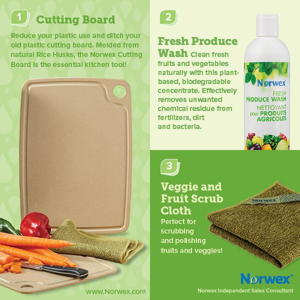 Norwex (1) Cutting board, (2) Fresh Produce Wash, (3) Veggie and Fruit Scrub Cloth. For Facebook parties, online events and marketing.