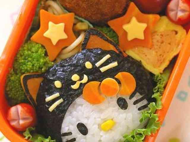 黒猫キティのハロウィン弁当(キャラ弁)の画像