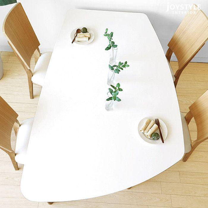 【楽天市場】幅140cm 160cm 180cmの3サイズ 光沢のあるホワイトの天板とタモ材のナチュラル脚を組み合わせた変形ダイニングテーブル BARON-DT ※サイズによって金額が変わります:JOYSTYLE interior