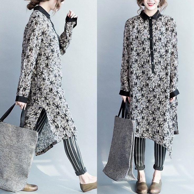 Women spring cotton linen shirt dress