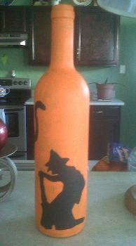 i upcycled üres borosüvegek a halloween lámpák, a kézművesség, halloween dekoráció, szezonális ünnep dekoráció, festett boszorkány és a macska
