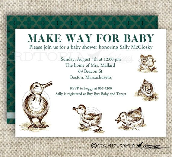 Make Way For Ducklings BABY SHOWER Invitations Bring A Book or Library Baby Shower Digital diy Printable Personalized - 103043140 on Etsy, $14.00