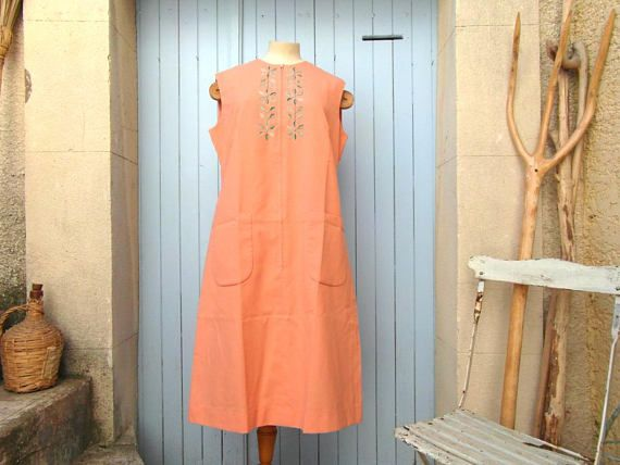 70's poly cotton salmon dress floral summer dress Size