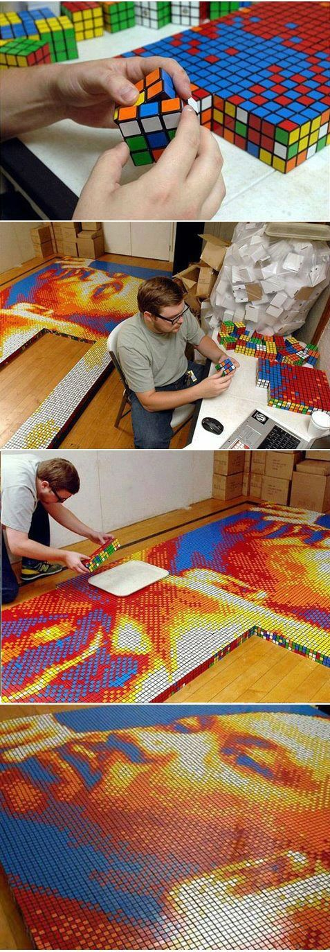 Dream Big: Portrait Made of 4,242 Rubik's Cubes: - psh it would take me more than 40 hrs to figure out a solid Rubik's cube let alone particular set-ups for each >.<