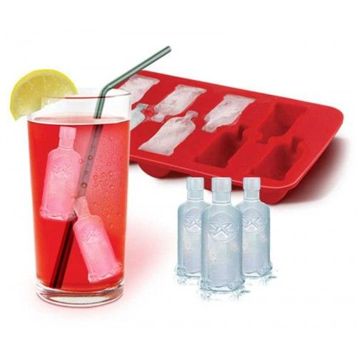 Russian Vodka Bottles Ice Cubes