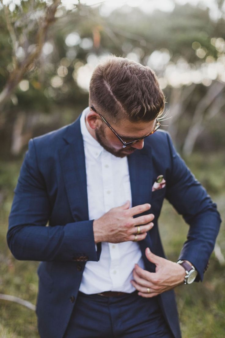 Best groom styles of 2016 - hipster groom in cobalt blue suit by Wil Valor