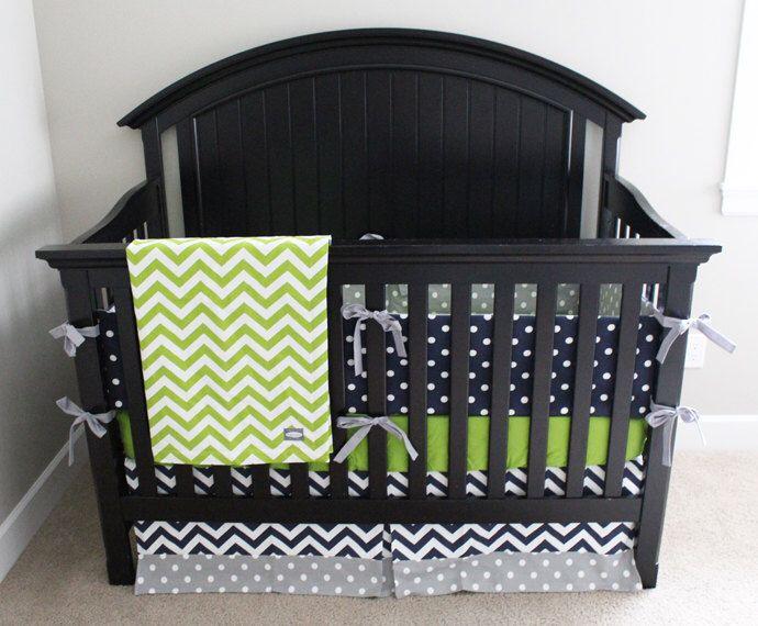 Custom Crib Bedding - Lime Green Chevron, Navy Blue and Grey Polka Dot Baby Boy Bedding by GiggleSixBaby on Etsy https://www.etsy.com/listing/186341335/custom-crib-bedding-lime-green-chevron