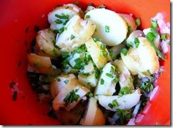 Kold Kartoffelsalat substitute organic veganaise for mayonnaise and leave out sour cream. Add: 1/2 cup chopped fresh parsley 2 tablespoons drained capers 3 tablespoons white wine vinegar 1 tablespoon caper liquid from jar