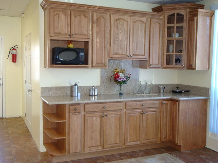 Keep The Oak Cabinets?? Looks Nice With Sand Granite Counter And Red Tile  Floor