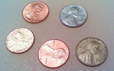 You can use chemistry to change the color of copper pennies to silver and gold.