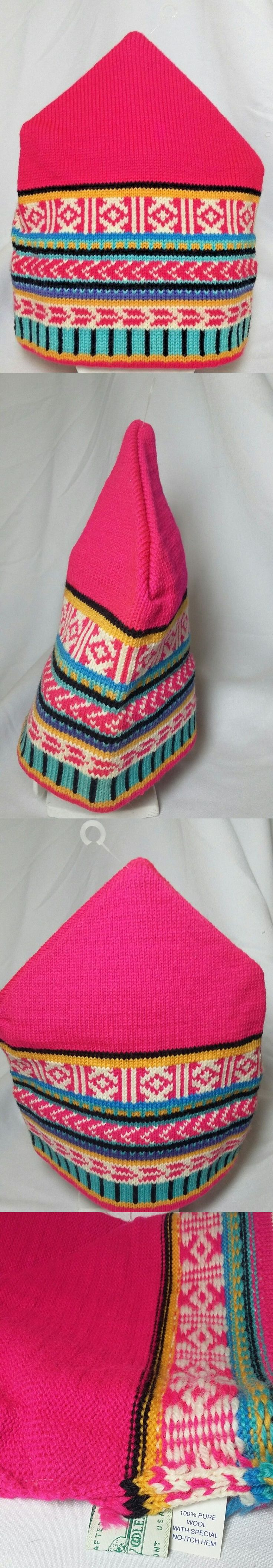 Hats and Headwear 62175: New Stowe Woolens Knit Ski Hat Worsted Wool Pink Print Made In Vermont -> BUY IT NOW ONLY: $39.95 on eBay!