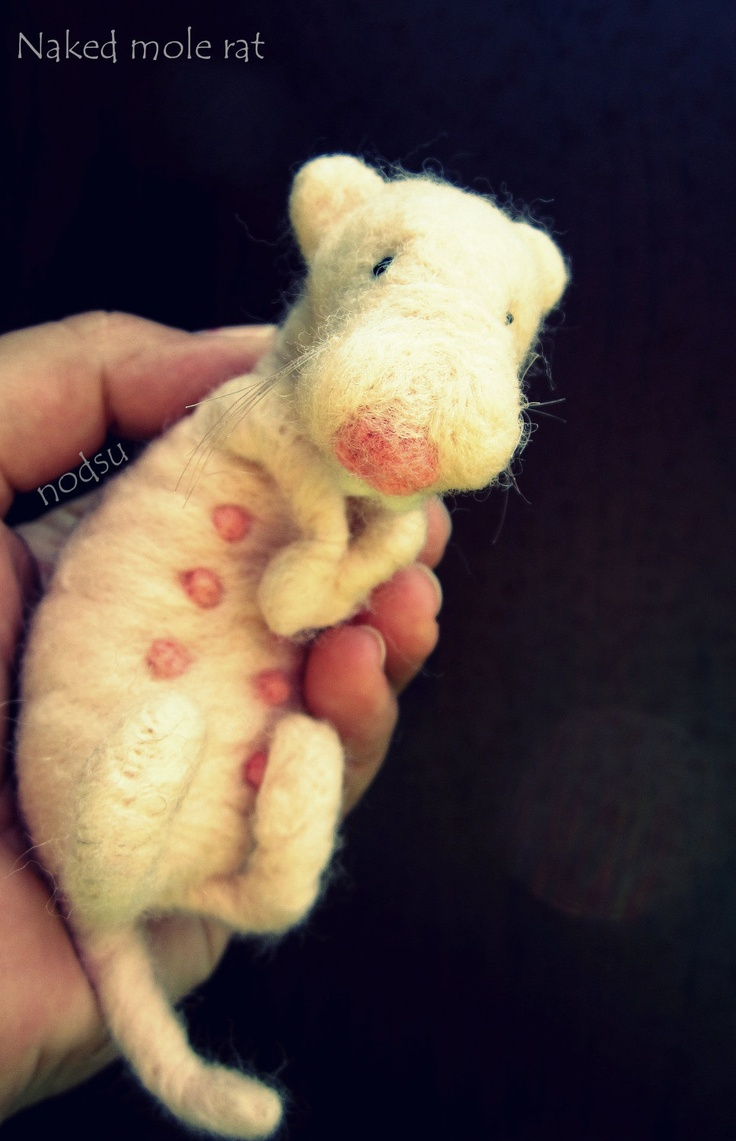 Weird creepy animal needle felted naked mole rat pink. $32.00, via Etsy.