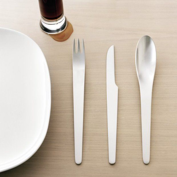 Matte Stainless Flatware by Arne Jacobsen