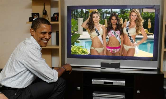 Josselyn Garciglia Miss Universe Mexico 2014, Noyonita Lodh Miss Universe India 2014 and Silvia Prochádzková Miss Universe Slovak Republic 2014 watch live Obama