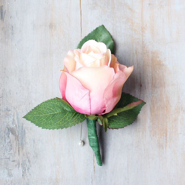 Pink And Ivory Rose Bud Boutonniere 4 Tall Per Pack White Boutonnieresilk Wedding Flowersflower