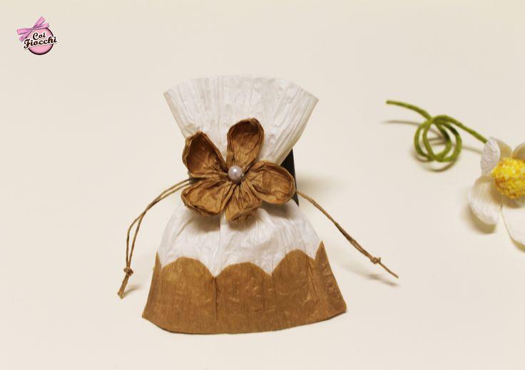 Coi Fiocchi wedding design: sacchetto per riso o confetti realizzato a mano in filo di carta