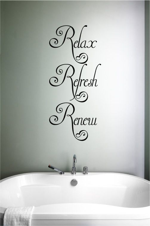Relax Refresh Renew Vinyl Wall Words Decal Sticker Graphic. Many sizes to choose from. Made from high quality adhesive vinyl that will last indefinitely indoors and has an outdoor rating of up to 10 y