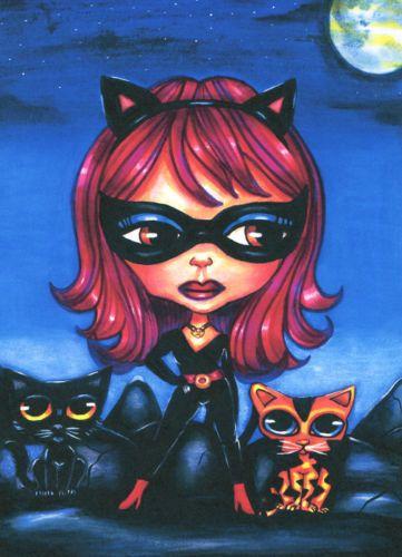 Cat girl blythe doll kittens original art print big eyes fantasy pop super heros