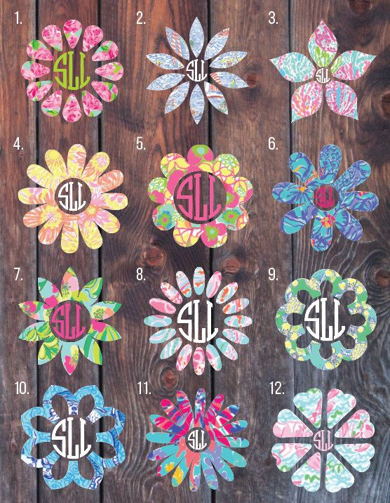 Lilly Pulitzer Inspired Flower Monogram Decal Monogram by SLrustic