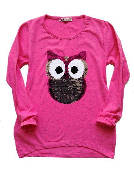 Dívčí oblečení | Dívčí triko se Sovičkou Melír - měnící flitry vel.128-152 | cubestore
