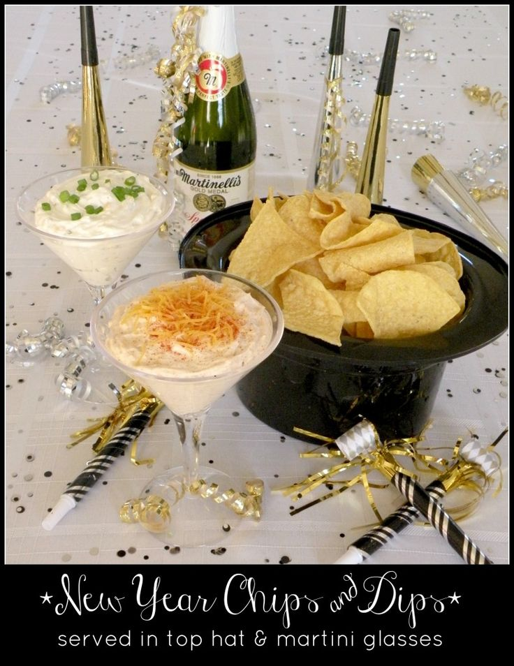 Chips and Dips New Year's Eve Style, a plastic top hat for crisps and couple of plastic Martini glasses for the dips - fun idea!