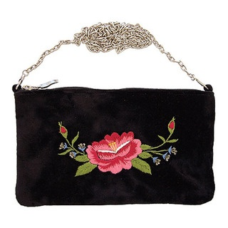 In sumptuous velvet this simply divine bag is adorned with the gorgeous new Frida Rose design.