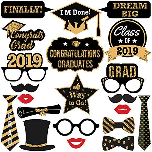 2019 Graduation Photo Booth Props -Real Gold Glitter | Great Graduation Decorations for Graduation Party Supplies 2019 High School Senior Prom Grad Party | Heavy Duty Cardstock | Large Size, 21 Count
