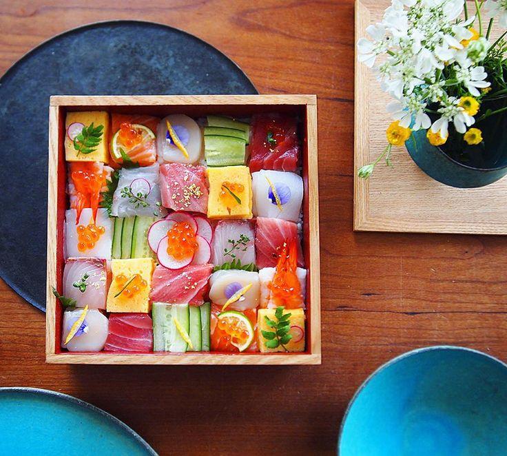 Gorgeous sushi mosaic arrangements.