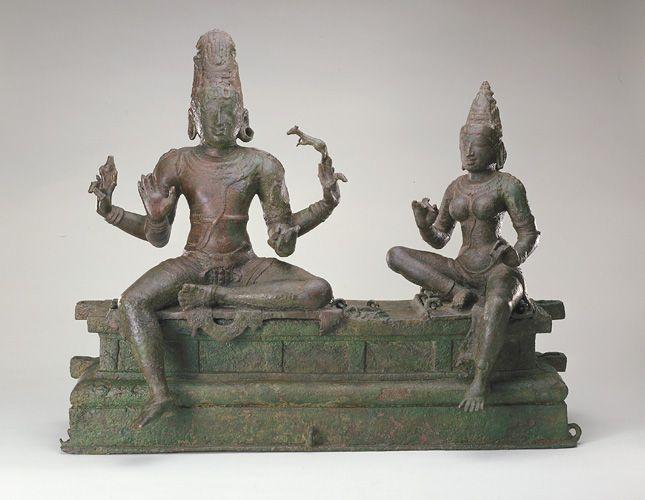 Somaskanda (Shiva and Uma) 12th century   Chola dynasty  Bronze H: 59.2 W: 71.8 D: 31.6 cm India  S1987.907a-e