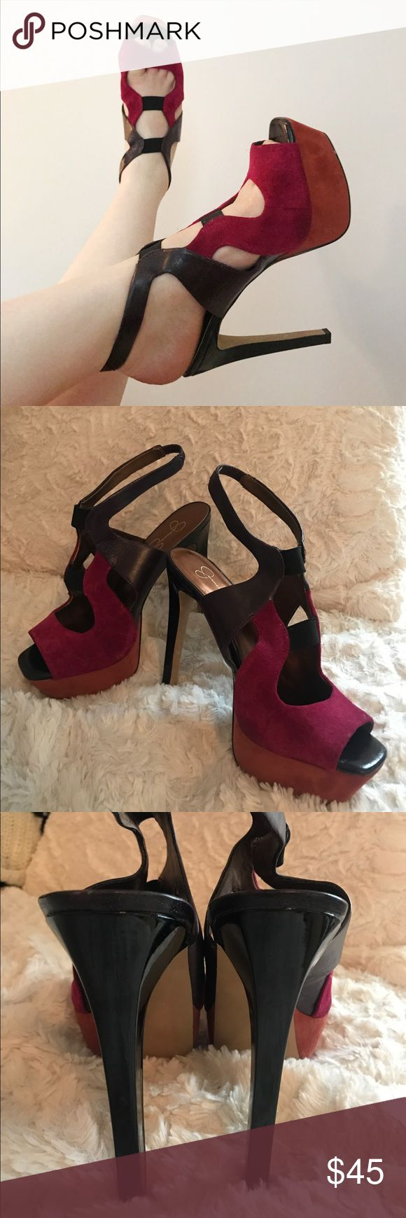 Super fun Jessica Simpson heels! Size 10 Gently used with small marks, barley noticeable considering you're walking on them. Super comfortable and fun for a night out Jessica Simpson Shoes Heels