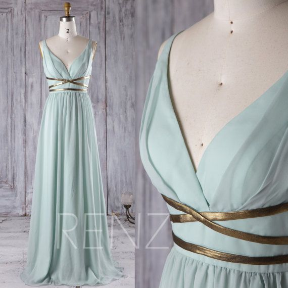 Dusty Shale Chiffon Bridesmaid Dress, Deep V Neck Wedding Dress with Gold Belt, A Line Prom Dress, Long Evening Gown Floor Length(T171)