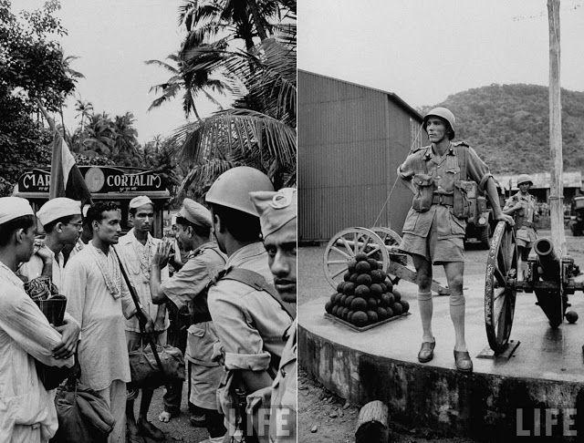 Guarda portuguesa em uma das fronteiras entre Goa e Índia, controlando  manifestantes. E, tropa portuguesa no quartel-general de Goa. 1954.