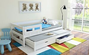 New Single Wooden DAY BED With Pull Out TRUNDLE BED 2 Drawers- FREE MATTRESSES