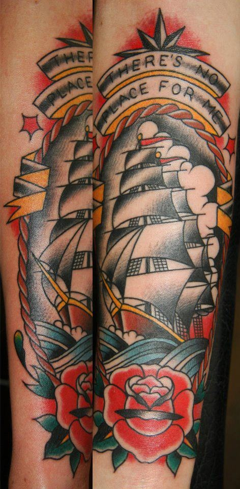 Ben Rorke, Westside Tattoo in Brisbane, Australia. Can't go wrong with a clipper ship