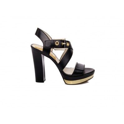MICHAEL KORS - Sandal with gold plateau in leather black - Elsa-boutique.it