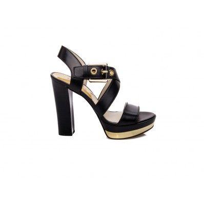 MICHAEL KORS - Sandal with gold plateau in leather black - Elsa-boutique.it