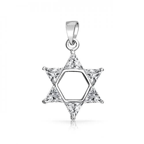 Bling Jewelry Trillion CZ 925 Sterling Silver Star of David Pendant