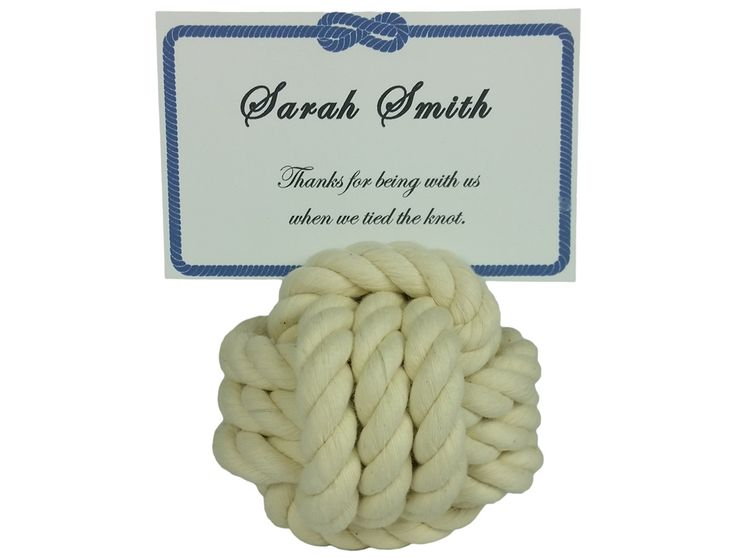 Monkey's fist place card holders are popular for both nautical and beach weddings.