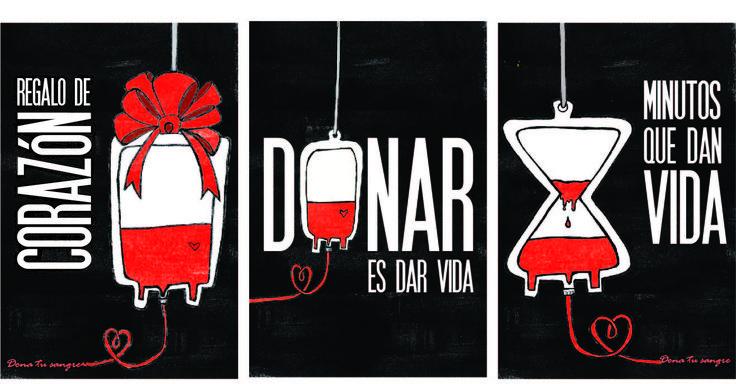 Triptico de carteles, donación de sangre. Por: Alejandra Baizabal Loyola