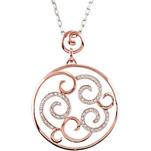 14K Rose Gold 1/4 ct tw Ladies Diamond Necklace  $1,505.00