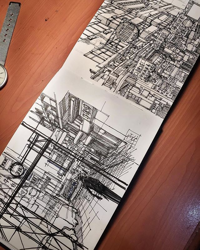 WEBSTA @ archisketcher - Characteristics of Hong Kong by @thufeil We love his line work and attention to detail!#ArchiSketcher